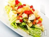 Рецепта Яйчена салата с китайско зеле, леща, карфиол, моркови, чушки и варени яйца